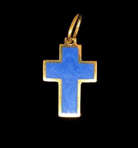 Pendant: cross, small, blue