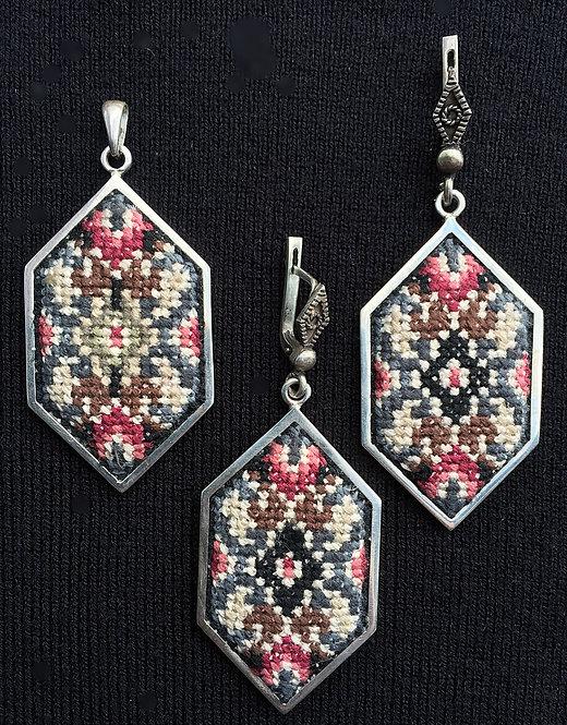 Hexagon Pendant & Earrings