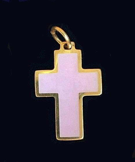 Pendant: cross, small, light pink