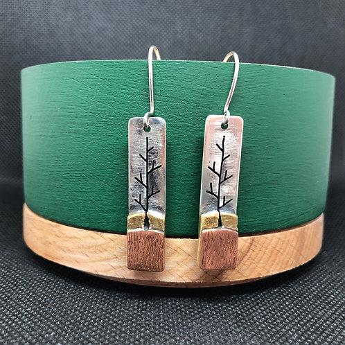 "Earrings tricolor ""Trees"""