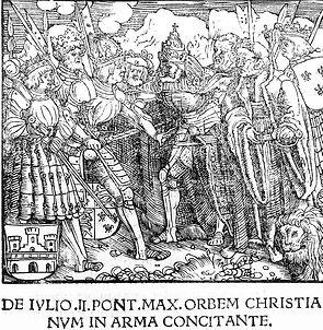 Pope Julius II in armour exhorting Emper