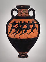 Terracotta Panathenaic prize amphora, by