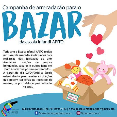 Bazar apito, doações de roupas, Projetos Sociais Em Camaçari, Associação Paulo Tonucci