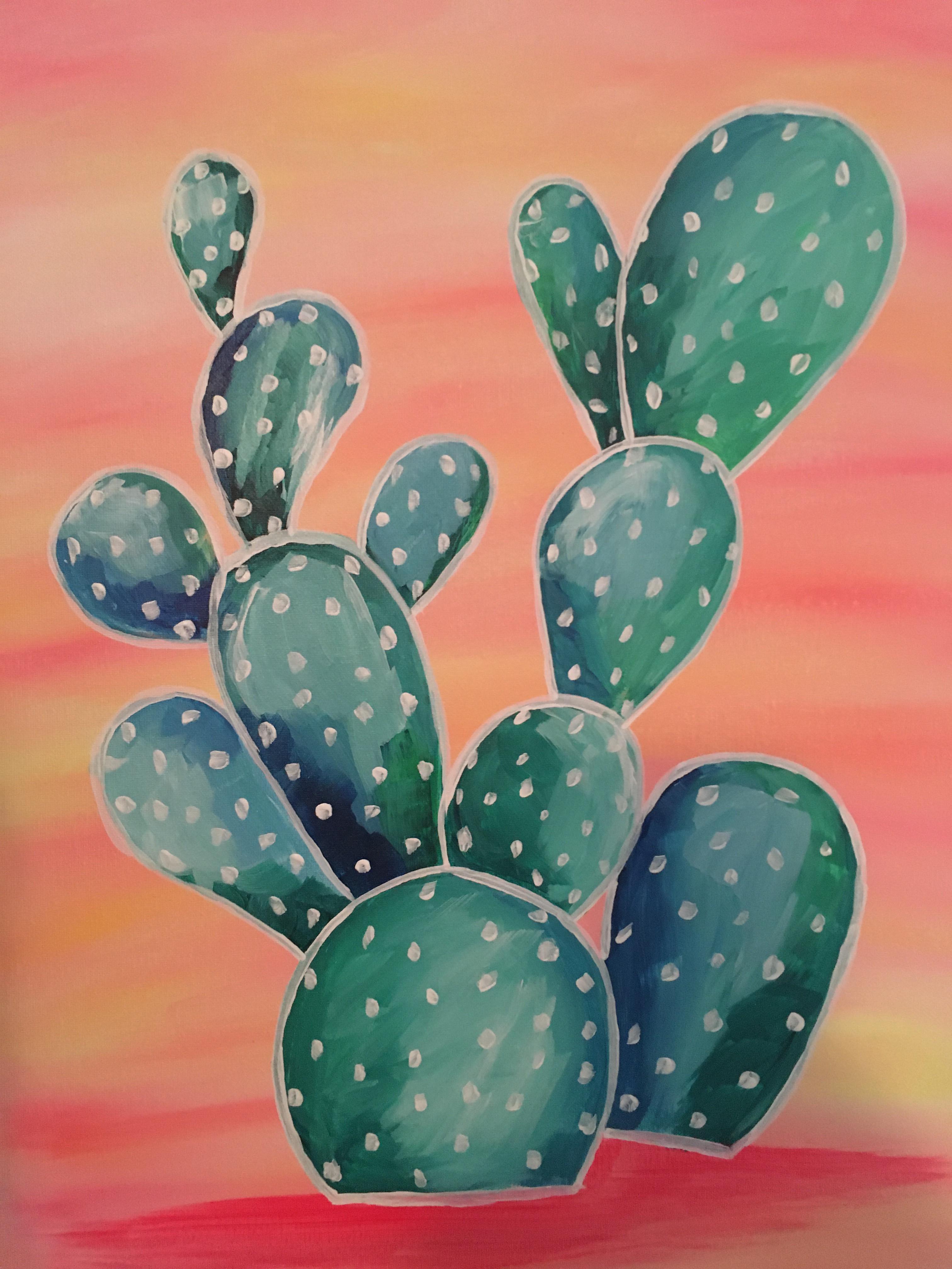 DIY cactus canvas & tutorial