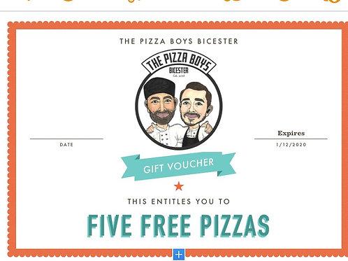 FIVE PIZZA GIFT VOUCHER