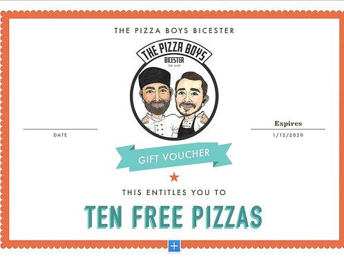 TEN PIZZAS GIFT VOUCHER