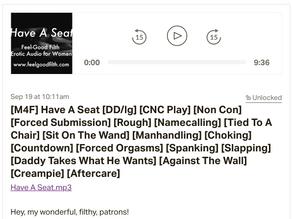 Have A Seat: My First CNC (consensual non-con) Audio!