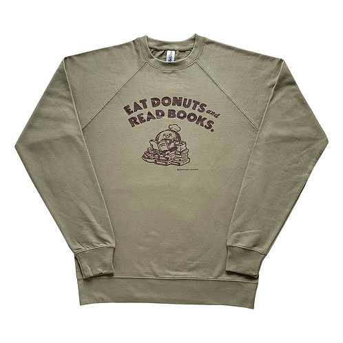 """""""EAT DONUTS and READ BOOKS."""" sweatshirt <OLIVE>(S size)"""