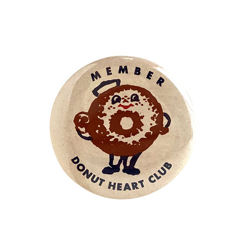 DONUT HEART CLUB membership button badge