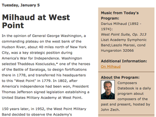 Milhaud at Westpoint