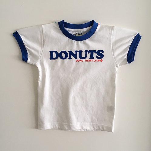 DONUTS RINGER KIDS T-SHIRTS (WHITE & BLUE) <Jr-M>