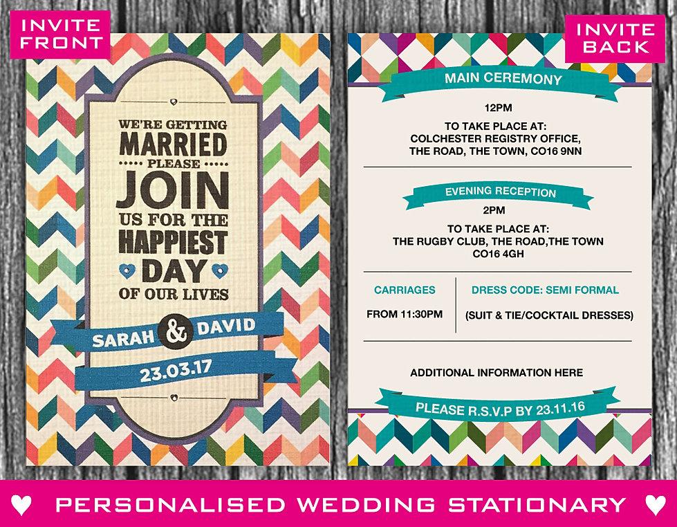 Chevrons Wedding Invites Rsvp