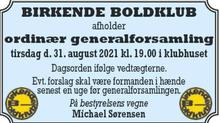 BB afholder ordinær generalforsamling tirsdag den 31/8-2021 kl. 19.00 i klubhuset.