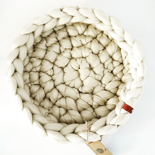 Cream Giant Crochet Cat bed