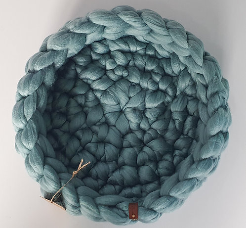 Light Teal Giant Crochet Cat Bed