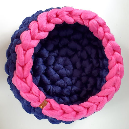 Midnight Blue/Bright Pink Extra Deep Giant Crochet Cat Bed