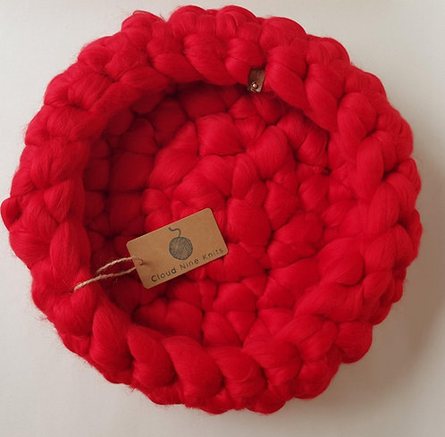 Bright Red Giant Crochet Cat Bed