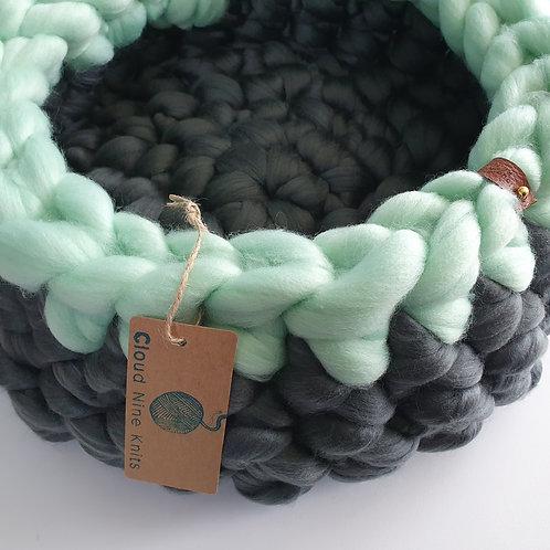 Slate Green/Mint Extra Deep Giant Crochet Cat Bed