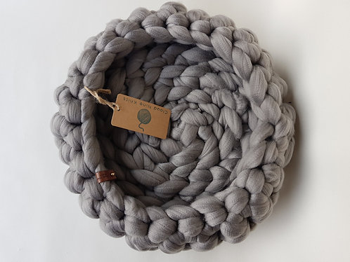 Dove Grey Giant Crochet Cat Bed