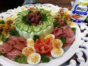 Moulded Cucumber Salad & Devilled Eggs