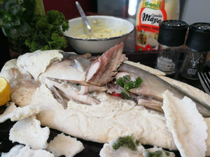 Fish baked in salt with Tartar sauce