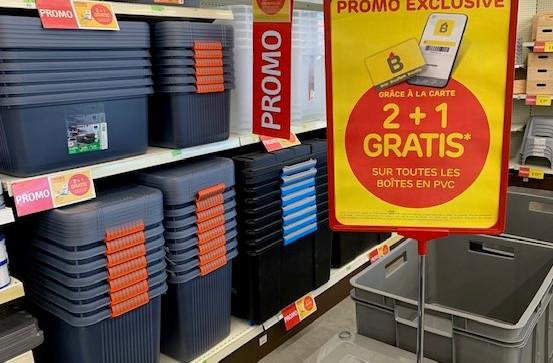 C'est le moment de prévoir votre rangement avec notre grande action 2+1 GRATUIT sur les bacs en PVC... avec votre carte Mon Brico