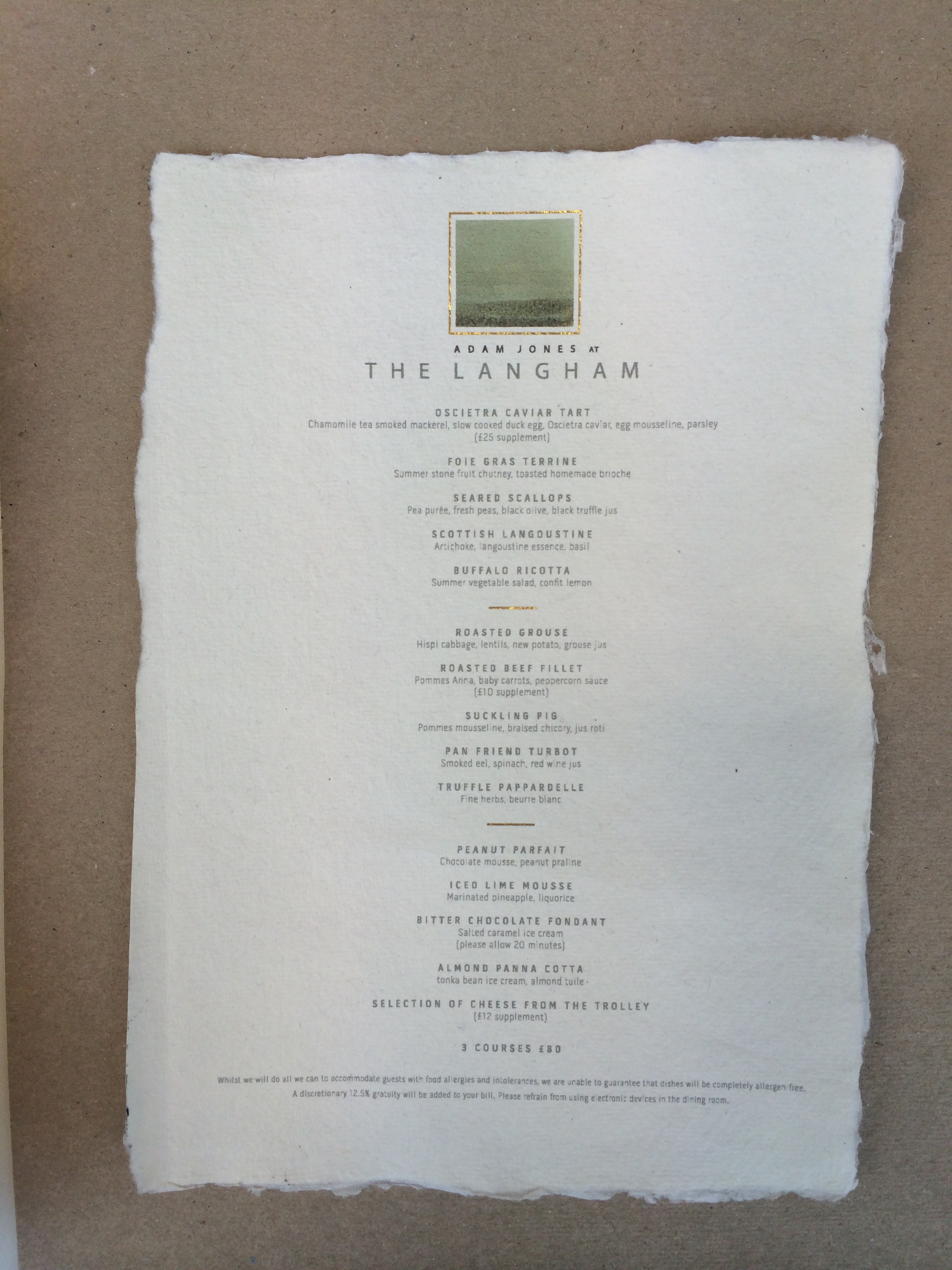 High End Restaurant Menu
