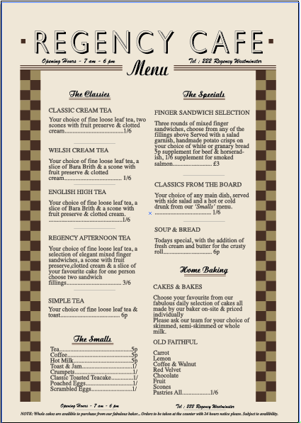 1950s Cafe Menu