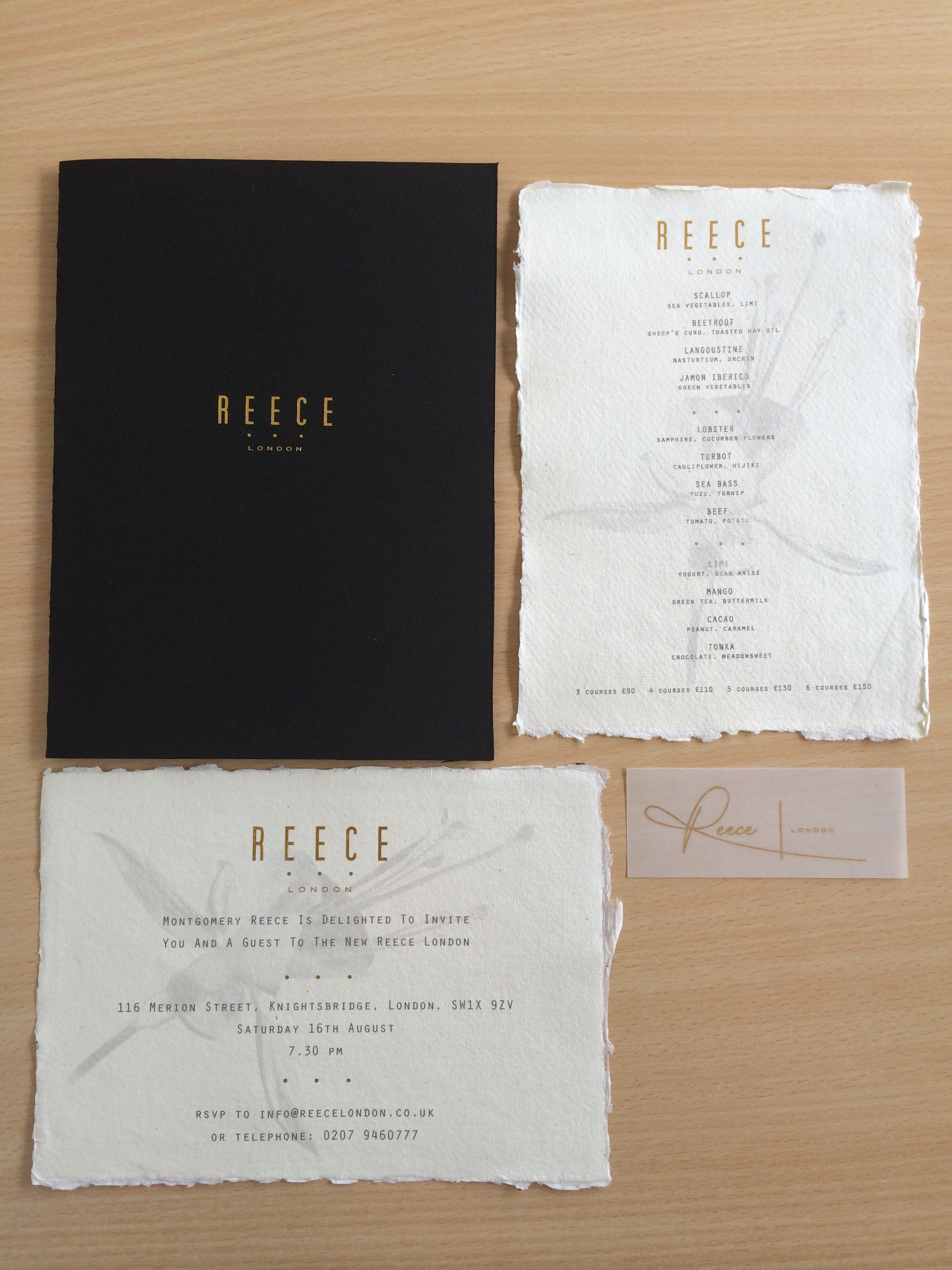 High End Restaurant Menu/Invites