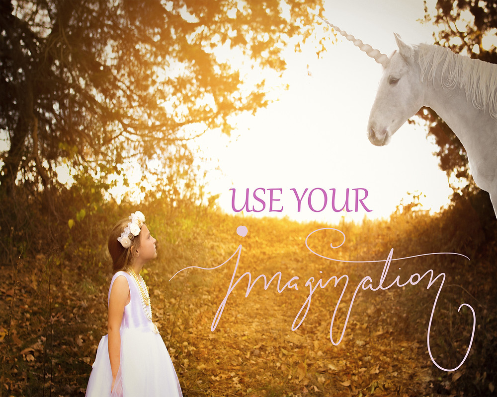 """Girl looking at unicorn with the handwritten note """"Use your imagination"""""""