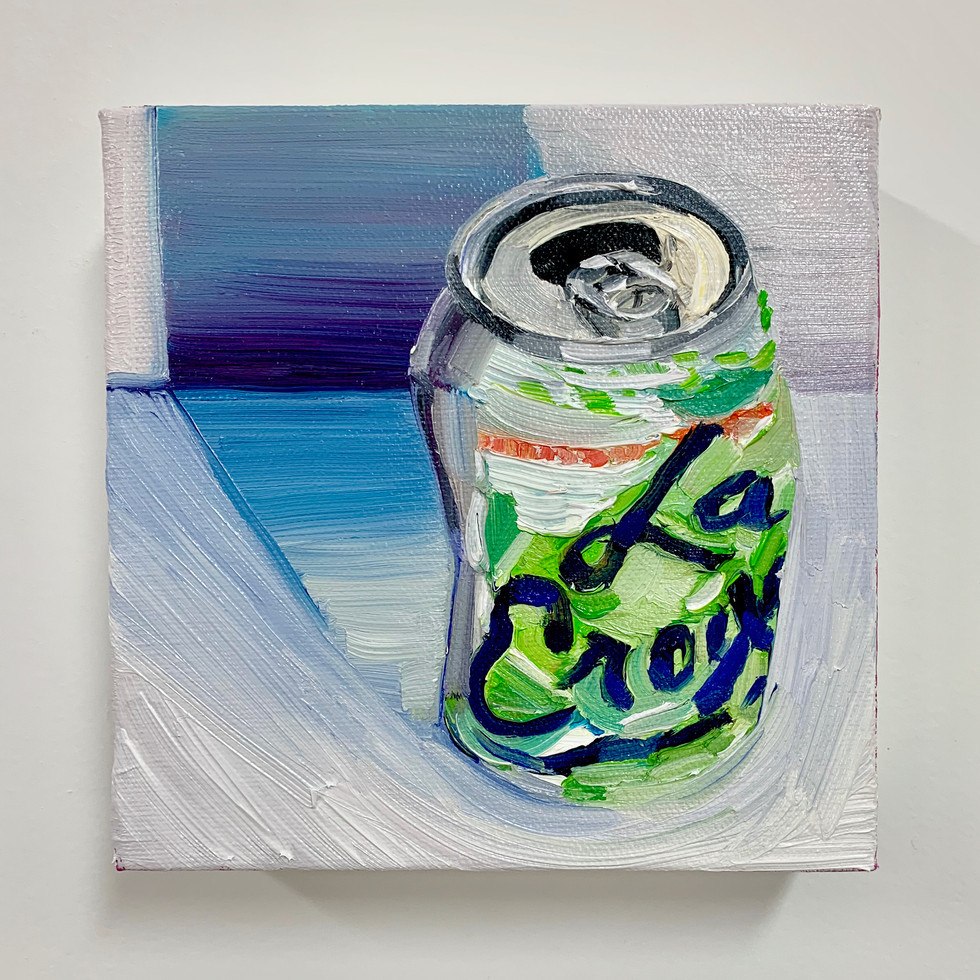 """La Croix 2"", Crushed Series, 5"" x 5"", oil on canvas, 2020"