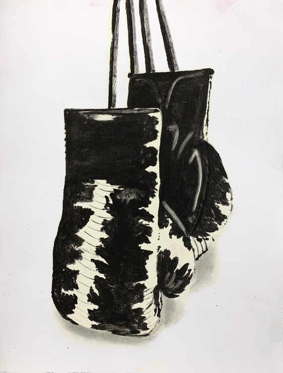"""Snakeskin Gloves 2"", monotype print, 8"" x 10"", 2020"