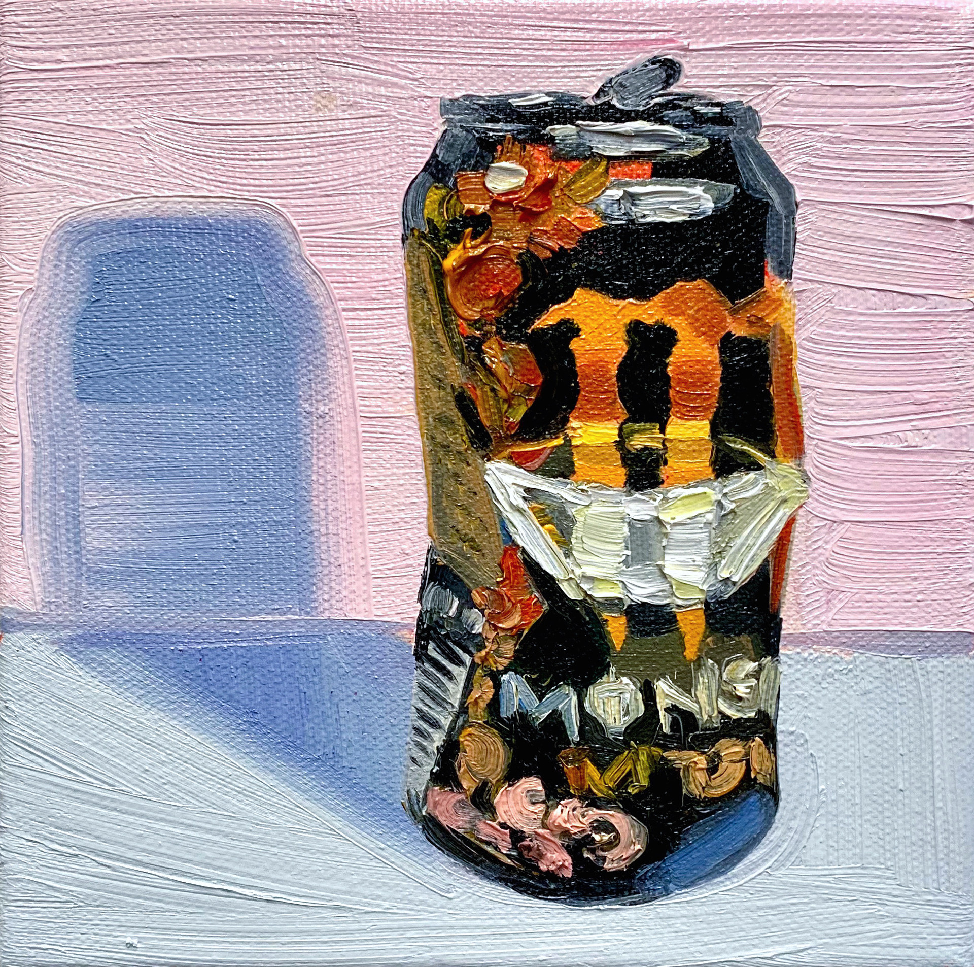 """""""Monster 1"""", Crushed Series, 5"""" x 5"""", oil on canvas, 2020"""