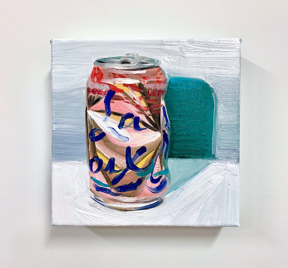 """La Croix 1"", Crushed Series, 5"" x 5"", oil on canvas, 2020"