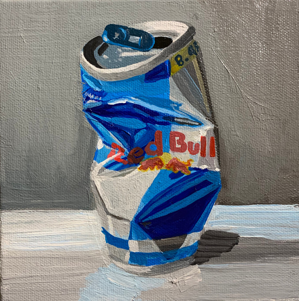 """Red Bull 1"", Crushed Series, 5"" x 5"", acrylic on canvas, 2020"