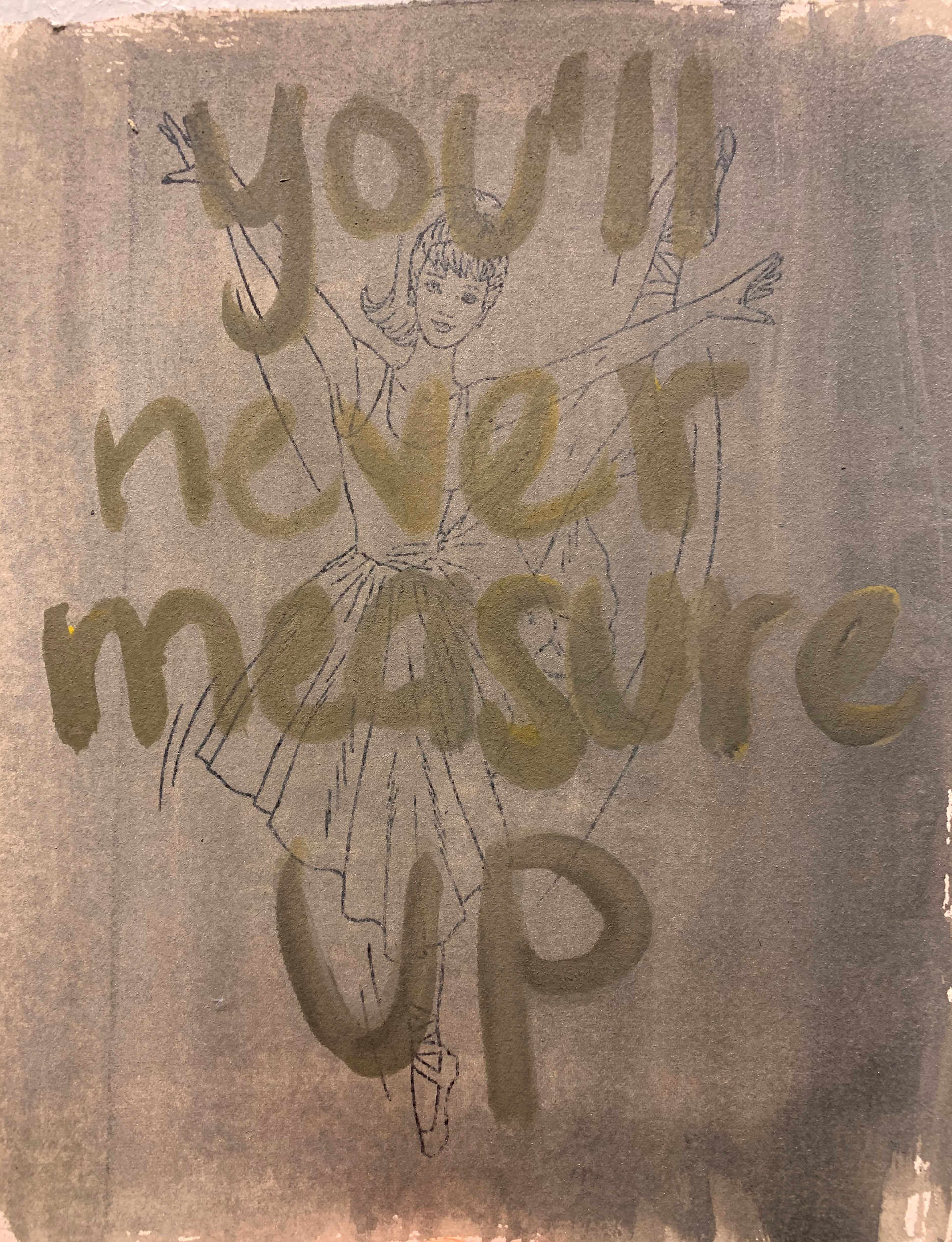 """""""you'll never measure up"""", truth for a lie series, 8"""" x 10"""", 2020"""