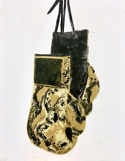 """Snakeskin Gloves 1"", 8"" x 10"", monotype on paper, 2020"
