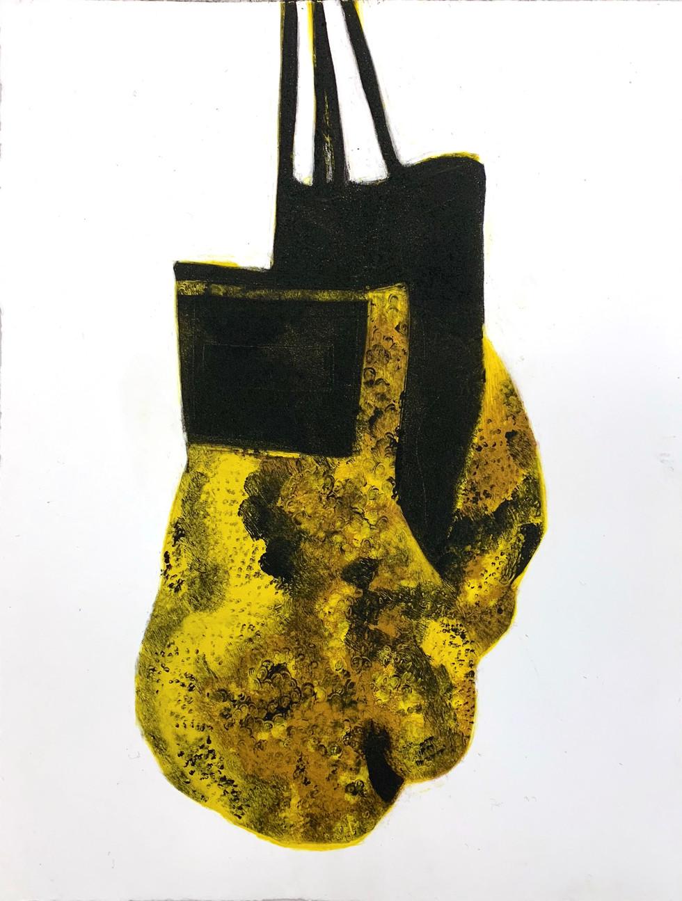 """Snakeskin Gloves 3"", monotype print, 8"" x 10"", 2020"