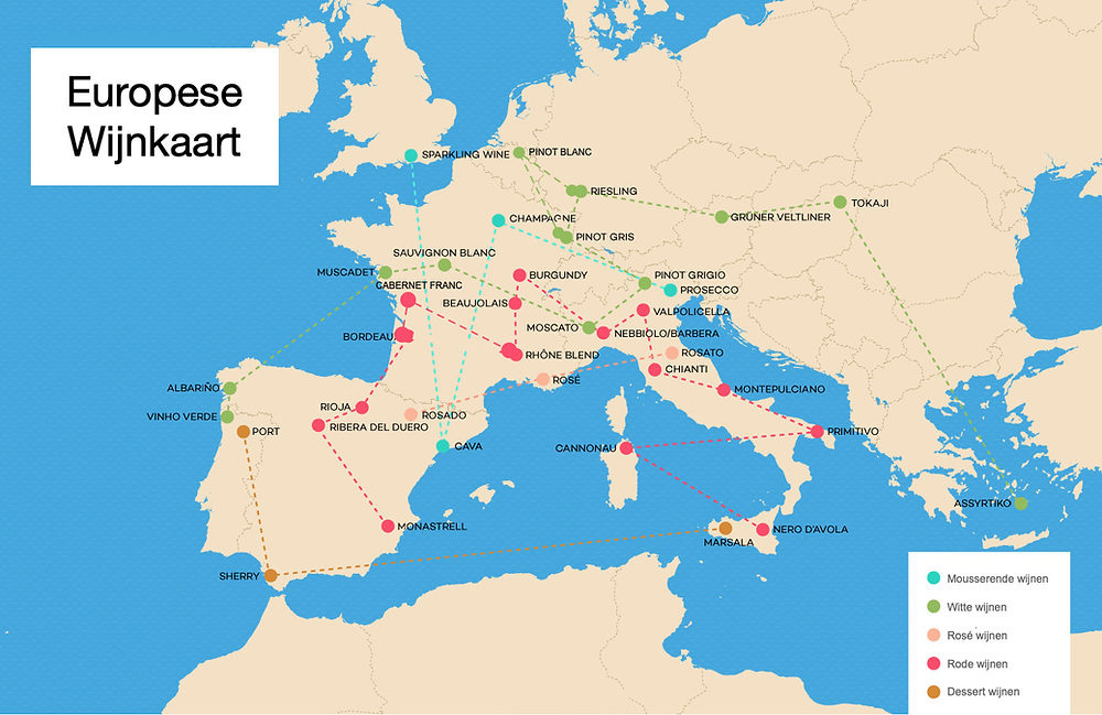 Europese wijnkaart voor beginners