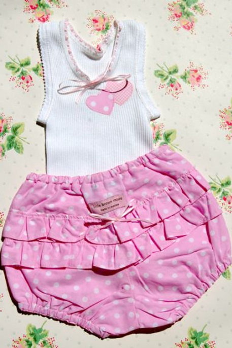 lolly pink spot frilly bloomers and singlet set