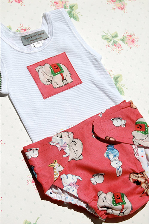 nappy cover and singlet set - pink animals