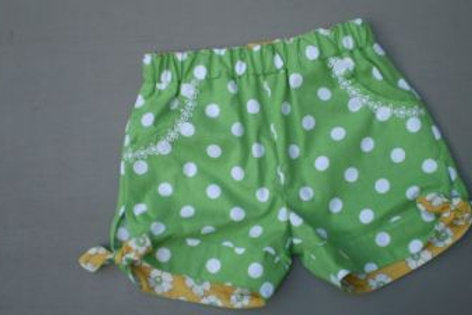 green dotty shorts