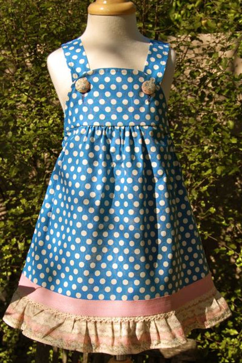 beatrice blue polka pinafore