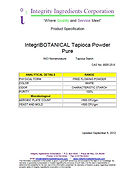IntegriBOTANICAL Tapioca Powder Pure