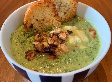 Winter warmer - broccoletto, walnut & feta soup