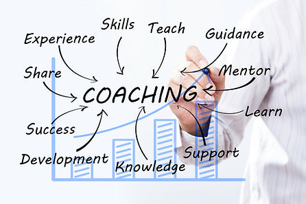 Businessman draw coaching word, Training