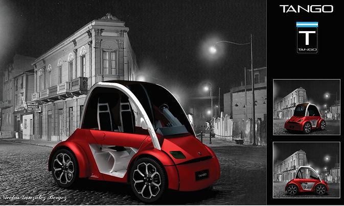 Render, presentación de proyecto auto eléctrio Tango