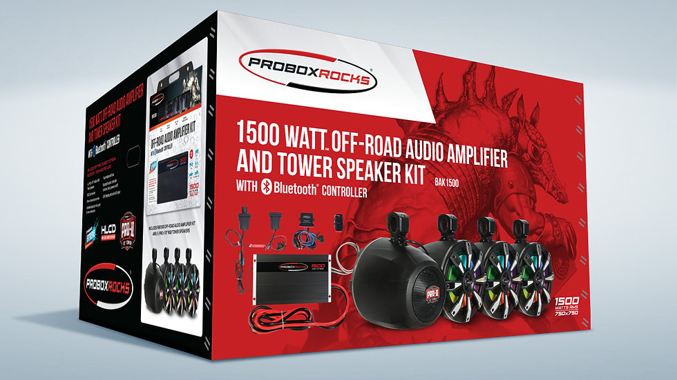 1500W Off-Road Audio Amplifier and Tower Speaker Kit with  Bluetooth Controller