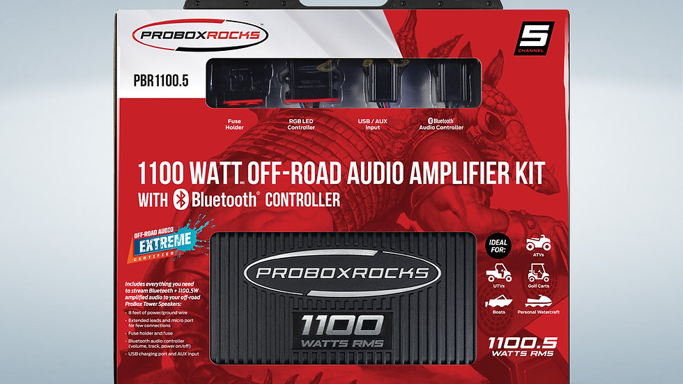 1100 W, 5 Channel Off-Road Audio Amplifier Kit with  Bluetooth Controller