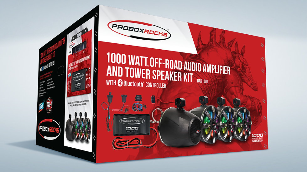 1000W Off-Road Audio Amplifier and Tower Speaker Kit with Bluetooth Controller